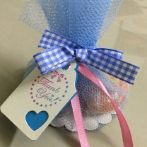 baby shower soap favour idea blue net packaging