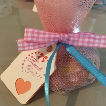 baby shower soap favour idea pink net packaging