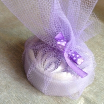Lavender soap in purple net packaging