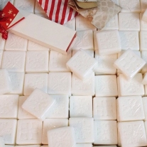 simple and classic white soap wedding favor